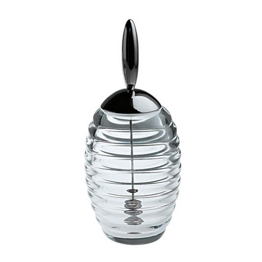 """Now here's something to get your house guests buzzing.  This #honeypot was designed to mimic the #organic form of a #beehive and was developed as part of @alessi_official """"Biological Project"""" workshop.  #British designer #TheoWilliams first conceived the #jar in 1993 with the CSA (Centro Studi #Alessi) and it was put into production in #1995.  Made of #crystalline #glass with a #stainlesssteel lid and #honey drizzler, this honeypot is both #beautiful and a very practical way to dispense…"""