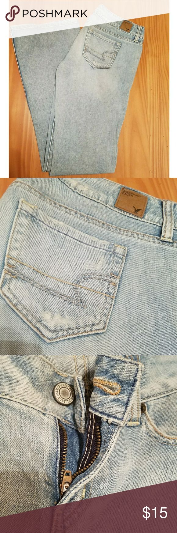 "American Eagle jeans American Eagle brand women's jeans. Bootcut. Light wash. Pre-owned. Good condition. Inseam 30""  women's size 4. Distressed look. American Eagle Outfitters Jeans Boot Cut"