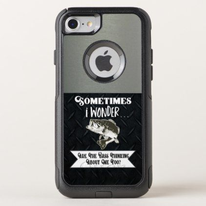 Funny Men's Bass Fishing Diamond Plate and Silver OtterBox iPhone Case | Zazzle.com