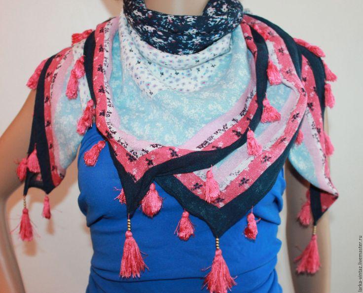 Купить Винтаж. Платок яркий с бахромой - комбинированный, платки, купить платок, шарф на шее