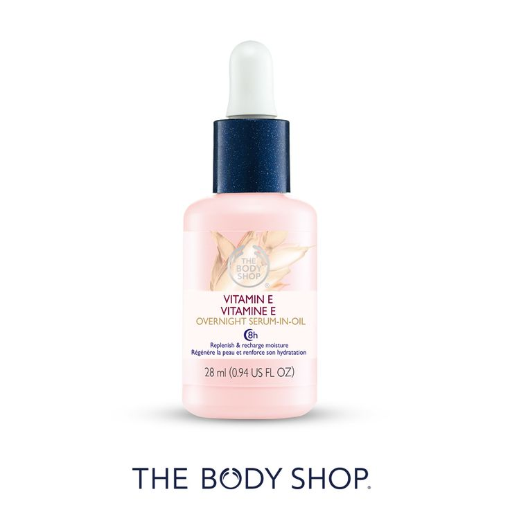 The Body Shop VITAMIN E OVERNIGHT SERUM-IN-OIL 28ML R155 - 8h beauty sleep for your skin - Skin feels recharged, replenished and softer - Skin looks fresher, rested and more radiant - Our highest concentration of wheatgerm oil - Non-greasy, fast-absorbing formula