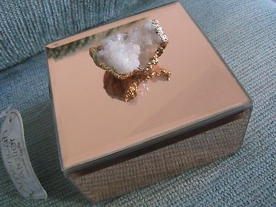 NEW LG ROSE GOLD MIRRORED GLASS JEWELRY BOX W/NATURAL DRUSY QUARTZ CRYSTAL GEODE
