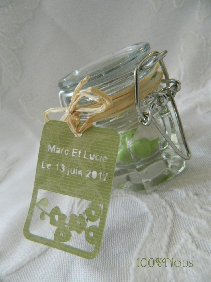 pot de confiture - contenant dragées - dragée mariage - jam jar - containing dragees - wedding favors -    contact@100pour100nous.fr