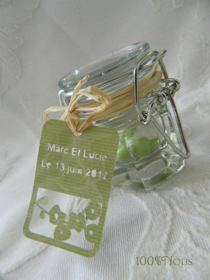 pot de confiture - contenant dragées - dragée mariage - jam jar - containing dragees - wedding favors -    contact@100pour100nous.fr