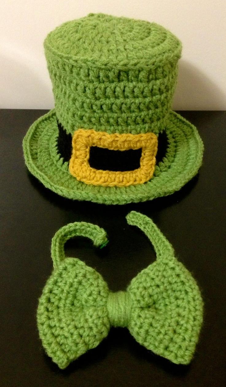Crochet St. Patrick's Day Top Hat & Bowtie