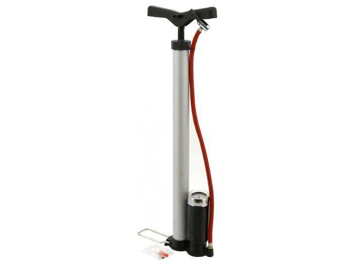 Ruční hustilka s manometrem, vhodná pro huštění pneumatik osobních automobilů, jízdních kol a dalšího příslušenství díky přiloženým adaptérům.