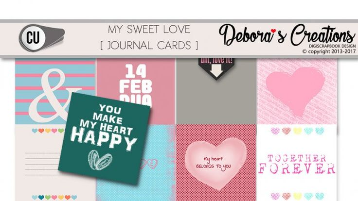 My Sweet Love Journal Cards by Debora's Creations CU