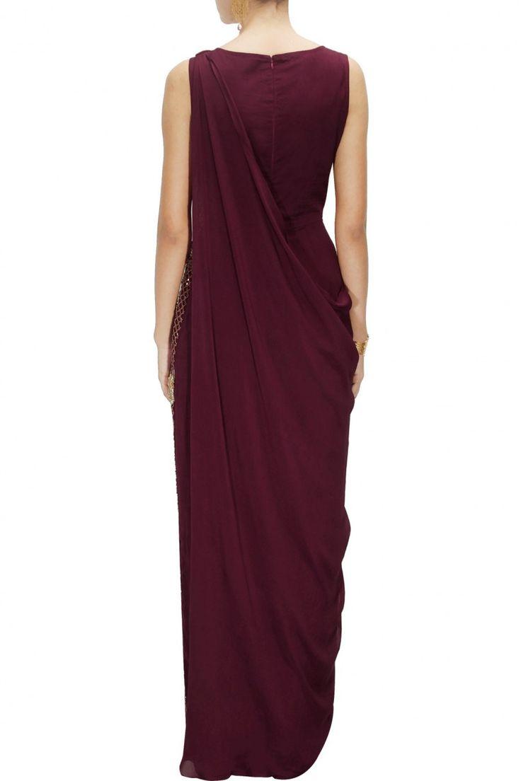 BHAAVYA BHATNAGAR Oxblood embroidered jumpsuit with attached drape available only at Pernia's Pop-Up Shop.