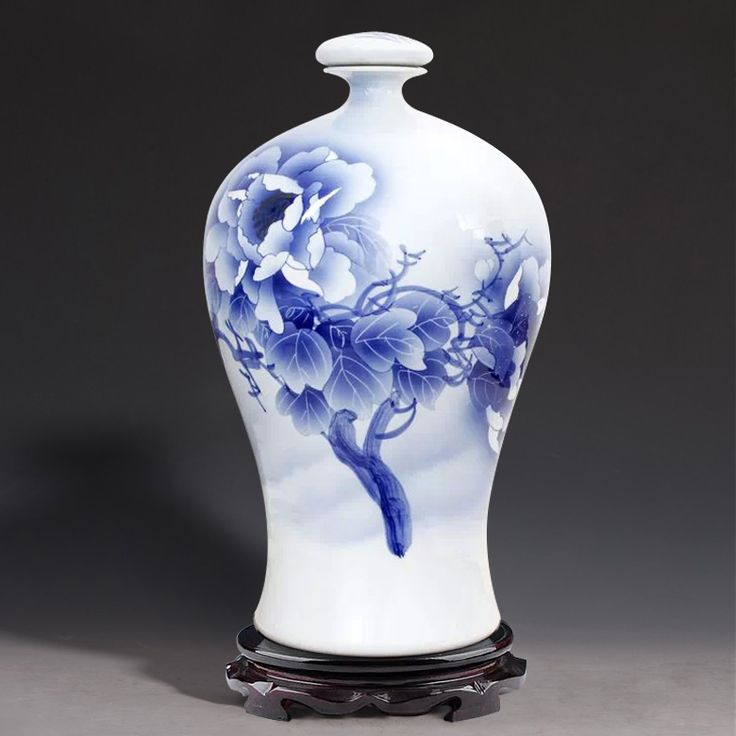 master Wu Wenhan painted blue and white ten pounds loaded 10 pounds of wine wine bottle ceramic jars sealed tank