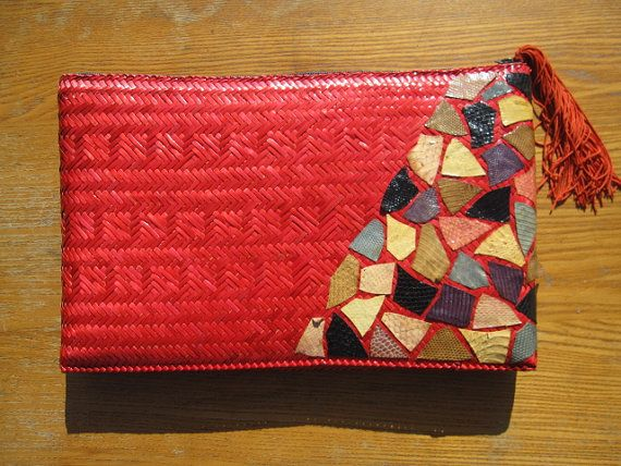 Vintage Red Straw Oversized Clutch Multi Color by irievibe420, $30.00