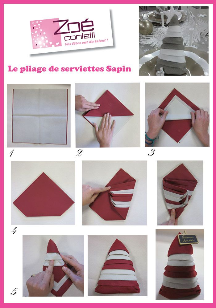 25 best ideas about pliage de serviette facile on for Pliage serviette papier noel facile