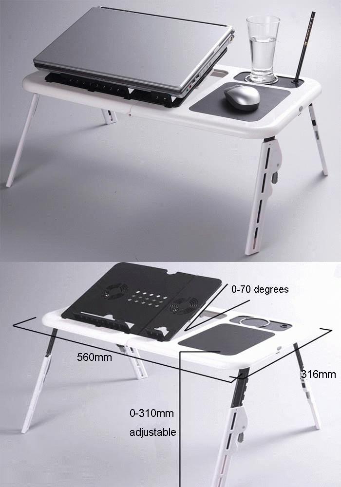 Jual Meja Laptop Portable Murah Laptop Desk 2 Cooling Fan  Meja laptop portable murah merupakan sebuah meja laptop inovasi baru yang dilengkapi dengan kipas pendingin ( cooling fan ) yang menyatu dengan mejanya. Mempermudah pekerjaan waktu anda mesti bekerja di depan laptop sembari duduk serta minum kopi. Dapat di lipat serta di atur ketinggiannya sesuai dengan kemauan kita.