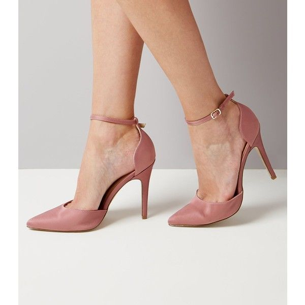 New Look Pink Satin Pointed Heels ($34) ❤ liked on Polyvore featuring shoes, pumps, pink, pink high heel pumps, pointy-toe pumps, satin pumps, high heel stilettos and pink pumps