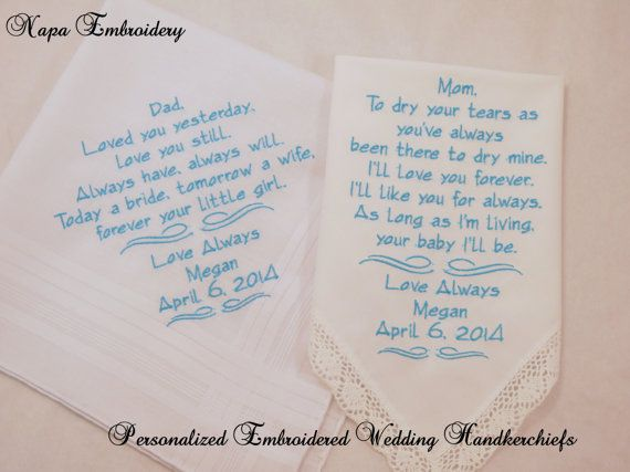 WEDDING GIFTS for Mom and Dad Embroidered Handkerchiefs Personalized 2 gifts for parents Mother and Father of the Bride Napa Embroidery
