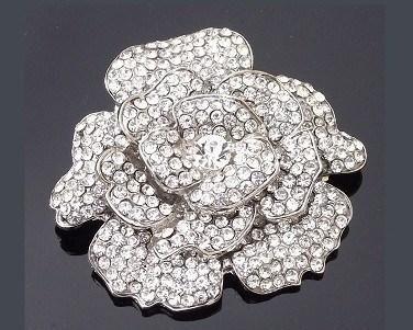 Wedding Brooches - Rhinestone Crystal Rose Floral Brooch, Elaine