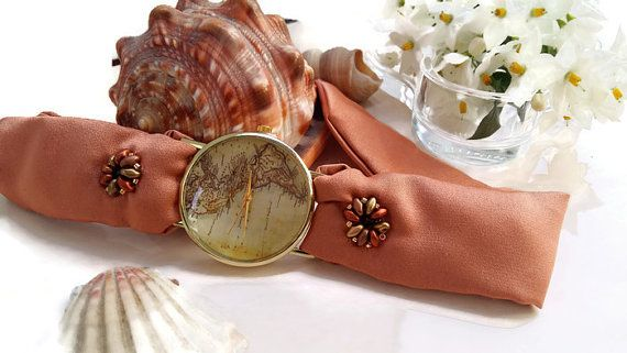 World Map Watch Women, Old American Map watch with coral silk bracelet by HARMONYHOURWATCHES