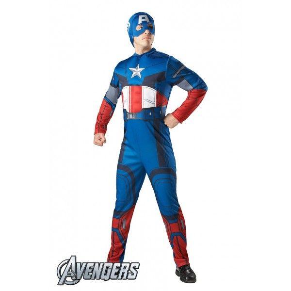 DisfracesMimo, disfraz de capitan america para hombre adulto talla estandar de la tematica de disfraces de superheroes y comic de la licencia marvel donde el capitán américa fué el primer superhéroe en formar parte de Los Vengadores.