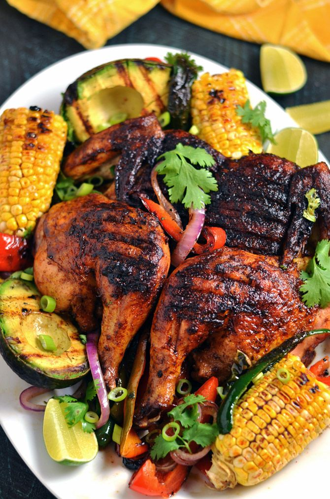 Mexican Brick Chicken with Grilled Corn and Avocados ...