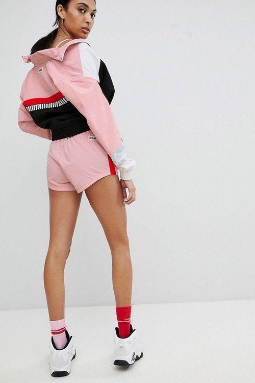 0496ec808f82 FILA pastel millennial pink logo retro track set jacket shorts co-ord  colorblock asos where to buy '90s