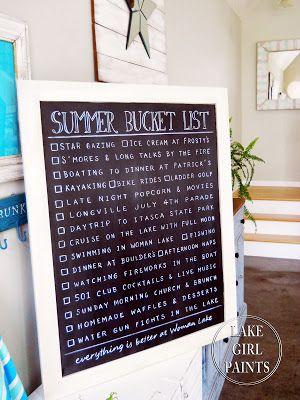 Lake Girl Paints: Summer Bucket List Chalkboard