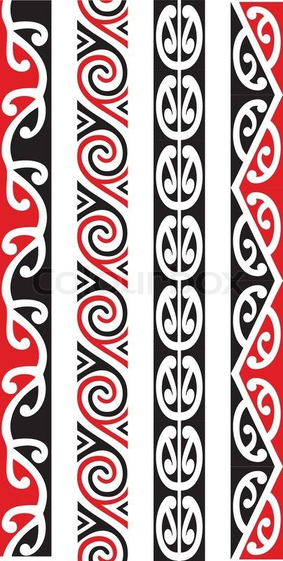 Stock vector of 'Four seamless Maori Kowhaiwhai patterns.'