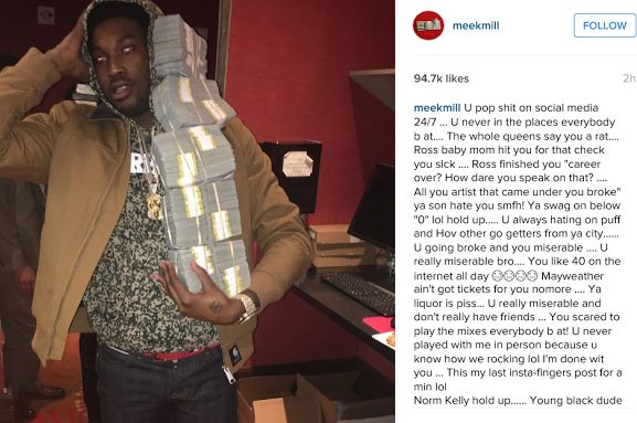 So Meek Mill went on a rant on IGand called 50 cent out. He said he was a snitch he was broke miserable that his liquor sucked...amongst all sorts of insults. Well 50 Cent has been firing back at Meek Mill all day lol. Read Meek Mill's rants then check out 50 Cent's replies lol.  Then 50 Cent fired back in typical 50 fashion lol.