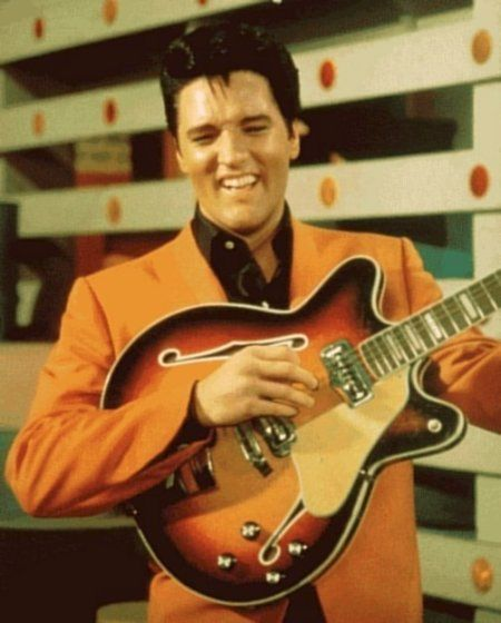 Elvis with Fender Coronado II guitar from Speedway - 1968  Photo courtesy web  In the 1968 release of MGM's Speedway, Elvis' twenty-sixth film, he costars with Bill Bixby and Nancy Sinatra as a benevolent and successful race car driver in trouble with the IRS (Nancy Sinatra) because of extravagant spending and mismanagement of funds by his childhood friend/manager (Bill Bixby).: Elvis Aaron, Music Instruments, Aaron Presley, Elvis Th King, Elvis Movie, Elvis Living, Elvis Presley Most, Secret Elvis, Classic Elvis