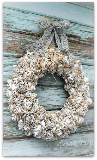 DIY Paper Rosette Wreath Tutorial
