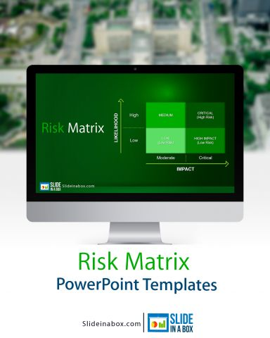 RISK MATRIX POWERPOINT TEMPLATE. Designed to effectively present the results of a Risk Assessment and show the Risk Management status in a project or process evaluation.