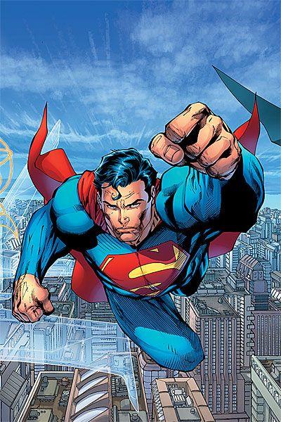 Jim Lee's rendition of the Man of Steel flying above Metropolis