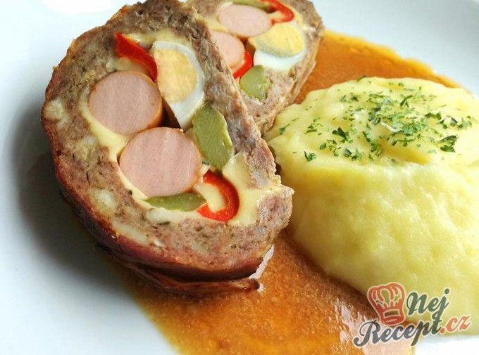 Plněná pečená sekaná s bramborovou kaší