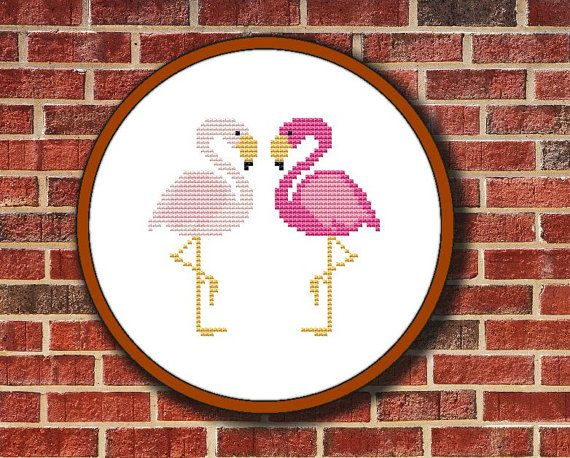 Two Lovers Flamingos Cross Stitch Pattern Digital by Pattaporn, $2.09