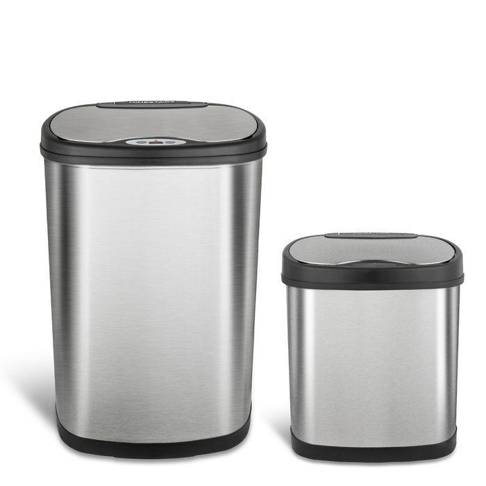 Download Wallpaper White Steel Kitchen Trash Can