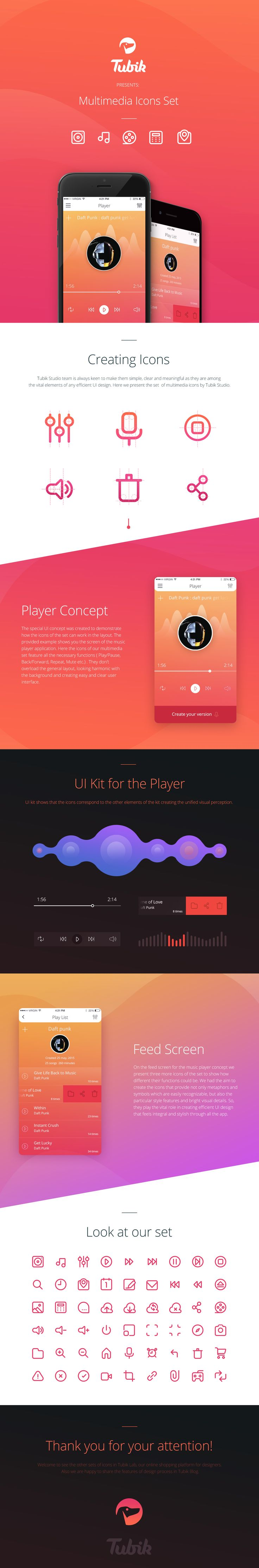 Hey guys! Here is a presentation of the whole process of Player App creation, including a study on the Multimedia Icons Set used in this design. There's also a UI kit section depicting the core interface elements used to build up this player the way it lo…