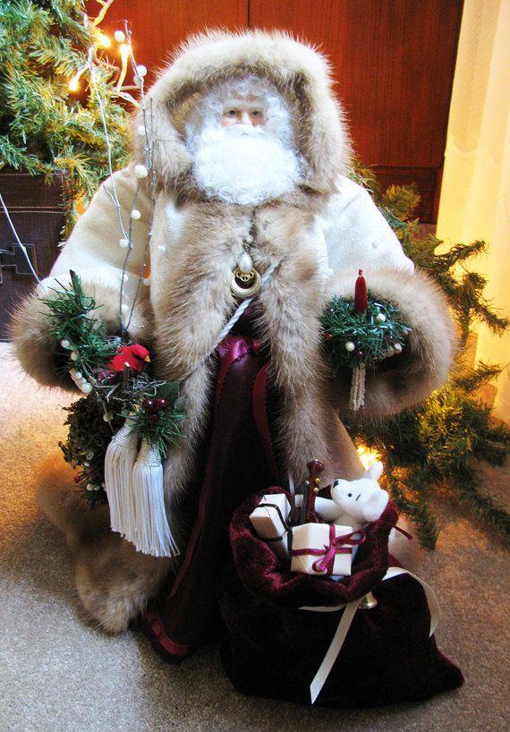 Father Christmas Santa Doll Cream Burgandy