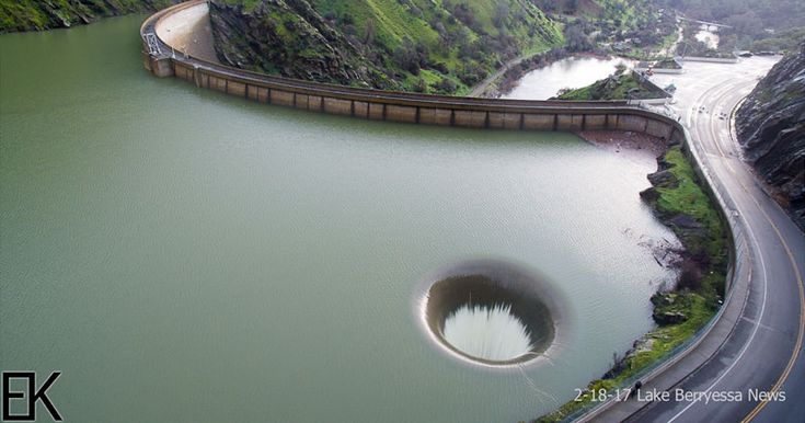 awesome Drone Captures Lake Berryessa Glory Hole Spillway Overflowing for First Time in a Decade