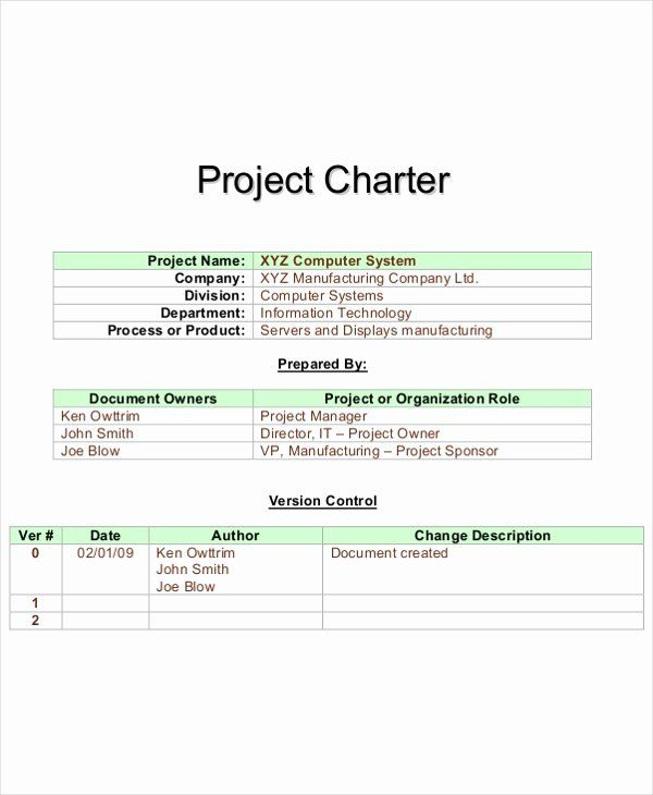 Project Charter Template Word Inspirational 8 Project
