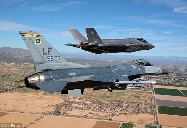 U.S. Air Force's most sophisticated stealth jet is beaten in dogfight by plane from 1970s... despite being the most expensive weapon in history. | Head-to-head: The F-35 (background) and the F-16 (foreground) took to the skies in a dogfight to determine how the highly-anticipated F-35 compares to its predecessor.