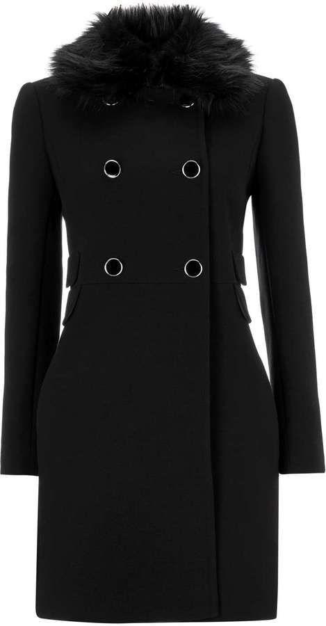 Petite Black Faux Fur Collar Coat