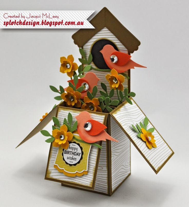 Splotch Design - Jacquii McLeay Independent Stampin' Up! Demonstrator: Bird Builder, Modern Label, Artisan & Petite Petal Punches - Bird house card in a box.