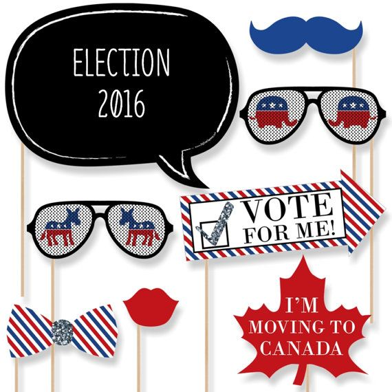 20 pc. Election Photo Booth Props - Election Party Kit with Mustache, Hat, Bow Tie, Glasses and Custom Talk Bubble