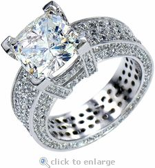 ZIamond Cubic Zirconia 4 carat x Cushion Cut and Pave Engagement Ring in White  Gold. The Casino Royale Solitaire features original Russian formula cz set  in ...