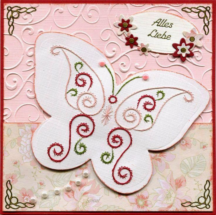 Schmetterlingsvorlage a711 von Anns Paper Art (www.annspaperart.ch) kombiniert mit einer Multi-Frame-Schablone von Nellie Schnellen