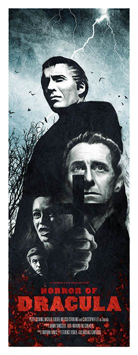 Limited edition variant giclee print based on the 1958 Hammer Films version of Horror of Dracula starring Christopher Lee and Peter Cushing. Slightly different colour treatment and uses the US title for the film.  www.andrewswainson.bigcartel.com
