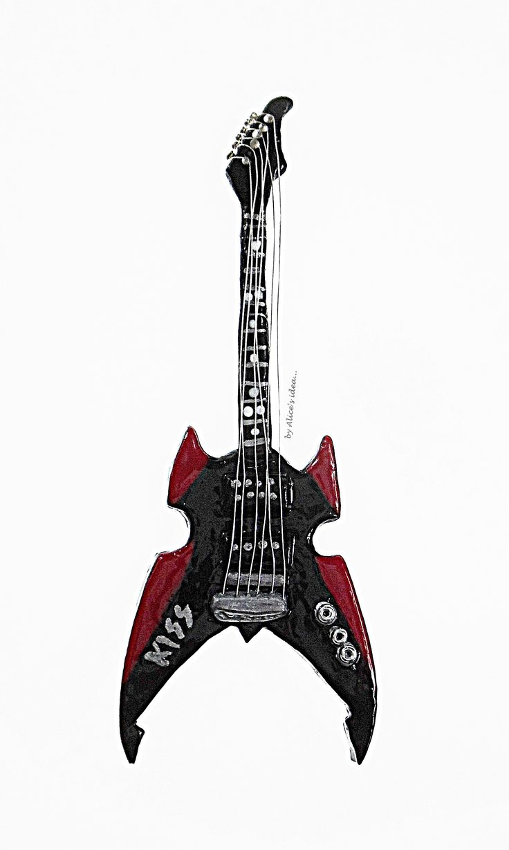 Miniature Kiss Guitar necklace. by Alice's idea... www.alicesidea.pl #necklace#guitar .