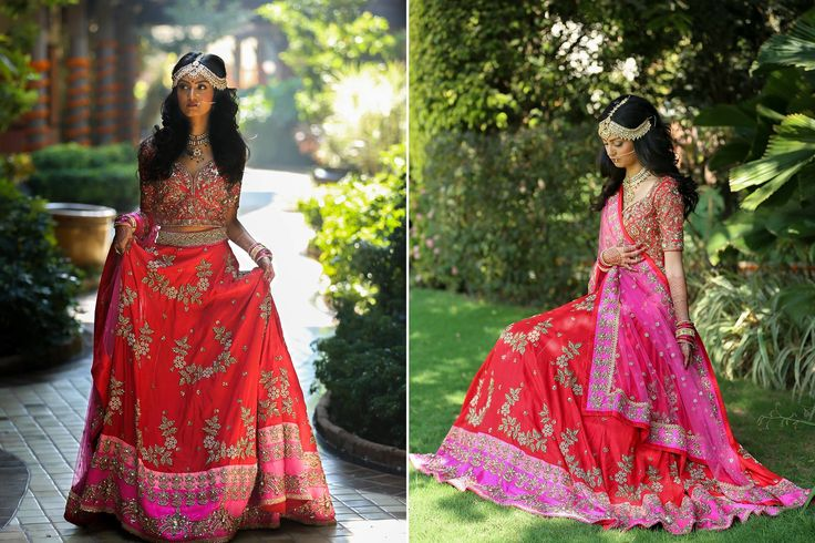 A red lehenga with a pink border and heavy sequence & antique zari work for Bride Shrusti Patel of WeddingSutra. Photos Courtesy- Cassidix Media Works
