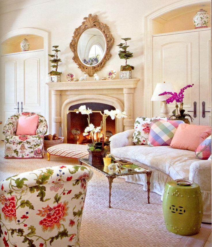Mario Buatta - Chair and pillow floral, Brunschwig & Fils. Pillow silks, Christopher Norman, Sofa fabrics from Cowtan & Tout. Stark Carpet