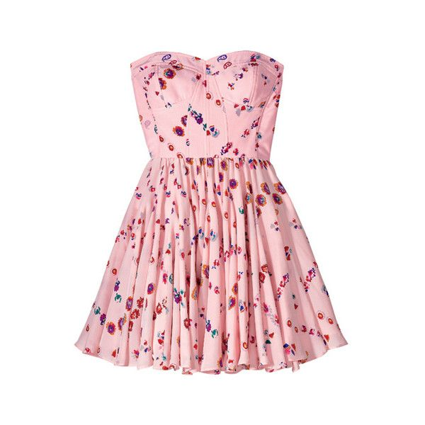 Silk-blend corset dress, Rebecca Taylor ❤ liked on Polyvore featuring dresses, vestidos, pink, short dresses, pink cocktail dress, pink corset dress, corsette dress, corset mini dress and mini dress