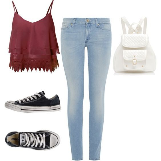 A fashion look from January 2015 featuring lace tank, stretchy jeans and black shoes. Browse and shop related looks. cute teen outfit - casual , school outfit: