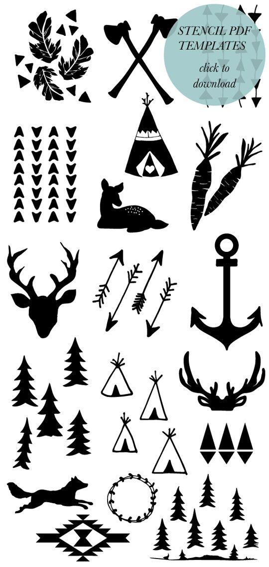 Muy cuqui: Plantilla de animales, flechas y tipis indios
